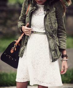 White lace dress with green army jacket. Great way to bring in the army trend while keeping it classy. Look Fashion, Fashion Outfits, Fashion Design, Fall Fashion, Couture Fashion, Style Guides, Dress To Impress, Autumn Winter Fashion, Cute Outfits