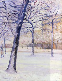 Gustave Caillebotte (Fr. 1848-1894), Parc sous la neige, Paris, vers 1888, huile sur toile, collection privée