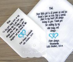 Set of Two!  Personalised wedding handkerchief for parents. Custom embroidered wedding handkerchief ! personalized wedding gift !