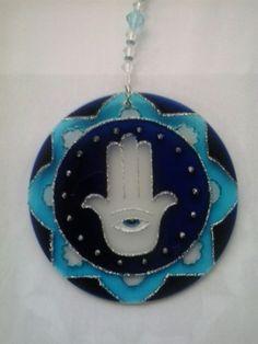 Mandala Hamsa 12cm - vidro Www.capembas.com.br