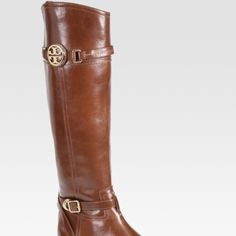 Tory burch riding boots Brown leather. High riding boots with two buckels. Side zip. Wonderful boots. Barely worn Tory Burch Shoes Winter & Rain Boots