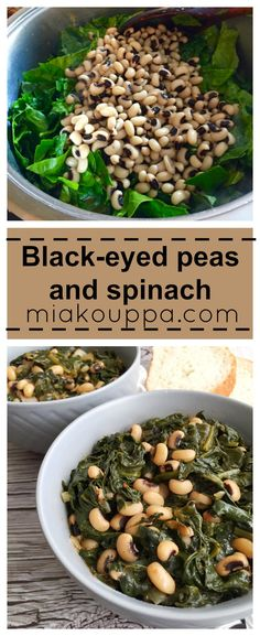 Black-eyed peas and spinach Pea Recipes, Spinach Recipes, Greek Recipes, Dinner Recipes, Vegetable Recipes, Black Eyed Peas Recipe Vegetarian, Healthy Crockpot Recipes, Vegetarian Recipes, Dinner Dishes