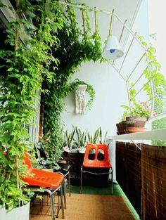 balcon avec plantes grimpantes et langue de belle mère en pot, chaises en plastique en orange et noir et tapis beige