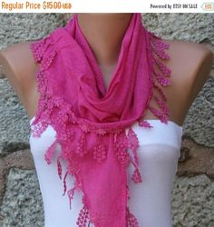 Hot Pink Scarf Spring Summer Easter Cotton Scarf Mom by fatwoman