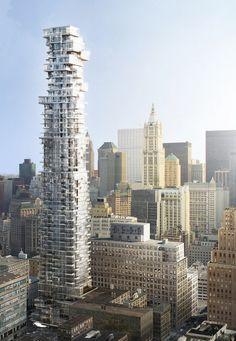 56 Leonard Street by Herzog & De Meuron, Manhattan, New York City Futuristic Architecture, Amazing Architecture, Contemporary Architecture, Architecture Design, Installation Architecture, Architecture Wallpaper, Amazing Buildings, Modern Buildings, Modern Skyscrapers