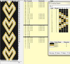 Diseño 16 tarjetas, 3 colores, repite dibujo cada 8 movimientos   // sed_42 ༺❁ Inkle Weaving, Inkle Loom, Card Weaving, Weaving Art, Tablet Weaving Patterns, Iris Folding Pattern, Finger Weaving, Art Du Fil, Willow Weaving