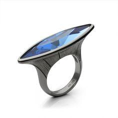 Lencia - Reflection of the dark ring, silver 925/000 rhodium plated blue Swarovski crystal 35x9,5 mm - 2x