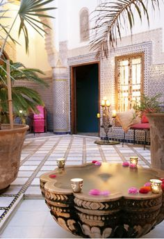 Riad Enija in Marrakech,Morocco It is an exotic boutique hotel located in Marrakech, Morocco.It is a place where the old times are combined with all kinds of styles like Gothic, Eastern or Western in a harmonious way so that you will be charmed by its beauties. The place is 280 years old that used to belong to a wealthy Moroccan silk merchant
