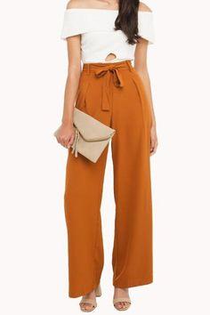 Elegant all matching pure color flare leg pants