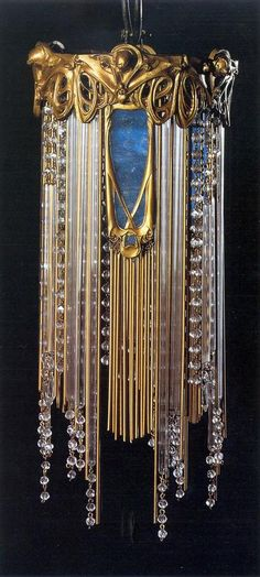 Art Nouveau chandelier by Hector Guimard, Chiselled golden bronze; beads and glass tubes; brass and copper structure. 41 x 19 cm