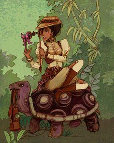 Natural Philosopher steampunk scientist/safari illustration mini print