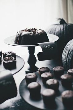 Create a dark chocolate dessert bar to go with the black theme.
