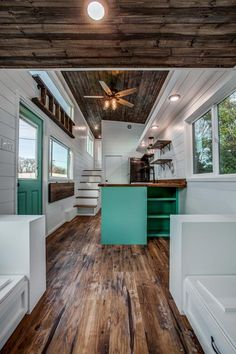 Magnolia by Indigo River Tiny Homes - Tiny Living - - From Dallas, Texas-based Indigo River Tiny Homes is the Magnolia. This tiny house on wheels features a food truck window with eat-at bars. Tiny House Layout, Tiny House Design, House Layouts, Tiny House Builders, Tiny House Plans, Tiny House On Wheels, Modern Tiny House, Tiny House Living, Small Living