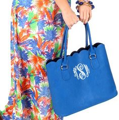 Monogrammed Scalloped Tote Purse $39.99 from Marleylilly.com. #tote #fashion #ootd