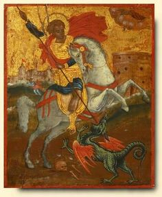 Saint George and the Dragon - exhibited at the Temple Gallery, specialists in Russian icons: