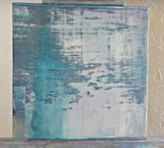 Original  Blue Abstract  Water  Landscape Reflective Pond by Sheri  Reflective Wishes 10x10x2 on Etsy, $112.00