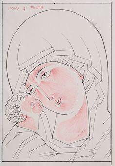 Madonna, Religious Art, Byzantine, Cartoon, Drawings, Face, Anime, Boho, Painting