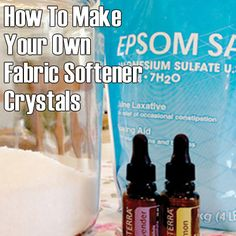 Homemade fabric softener crystals to add with your homemade laundry detergent! Only Epsom salt and essential oils!