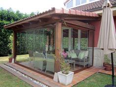 Fotografía de Cerramiento de porche en gijón (Asturias) por Diseña Soluciones En Vidrio #314356. Cerramiento con cortinas de cristal SF25 (cerrado)