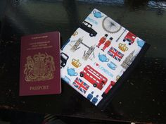 A handy wallet style holder for your passport, tickets, etc. Made from London pattern pure cotton fabric, lined in sturdy denim, this wallet keeps all your travel documents in one easy to find place. Away We Go, Passport, Ticket, Traveling By Yourself, Wallet, Fabric, Pattern, Tejido, Tela