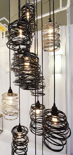 spiral nest metal light fixtures by Ridgely Studio Works . I'd love to make these for the backyard lighting! Industrial Lighting, Cool Lighting, Lighting Design, Industrial House, Industrial Design, Wire Lighting, Industrial Closet, Industrial Bookshelf, Industrial Windows