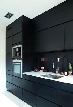 Modern Black Kitchen Cabinets Design Ideas For Inspiration Black Ikea Kitchen, Black Kitchen Cabinets, Kitchen Cabinet Design, Black Kitchens, Modern Kitchen Design, White Cabinets, Home Decor Kitchen, Kitchen Interior, Home Interior Design