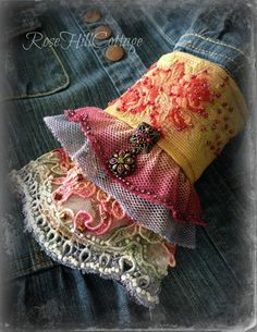 how to apply bling Bohemian BOHO Cuff Bracelet Vintage Fabrics Altered Couture, Denim And Lace, Fabric Jewelry, Vintage Fabrics, Vintage Lace, Diy Clothes, Diy Fashion, Sewing, Crochet
