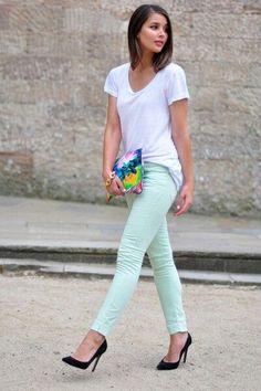 mint skinny jeans, white t, black heels