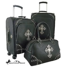 Montana West Cross Decorative 3-Piece Wheeled Luggage Set - Black