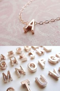 Rose Gold Initial Necklace - like it better in white gold