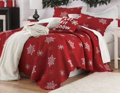 Snowflake Embroidered Cotton Quilt: Embroidered snowflakes swirl across our festive Snowflake Cotton Quilt.  Shop Country Door: www.CountryDoor.com