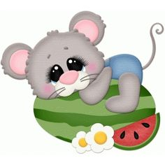 Silhouette Design Store: Mouse Laying On Watermelon Cute Animal Clipart, Mickey Mouse Images, Watermelon Designs, Clip Art Pictures, Summer Painting, Super Cute Animals, Pet Rocks, Cute Cartoon Wallpapers, Scrapbook Paper Crafts