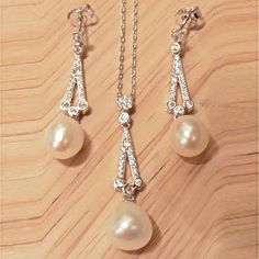 Vintage Style Sterling Silver, CZ & freshwater pearl set