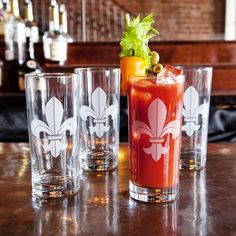 Fleur de Lis tumblers from Mignon Faget's HOME Collection featuring a Louisiana design. These would make a great New Orleans inspired wedding gift!