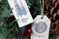 Salt Dough Ornaments/Tags with a Twist - Abbie's Road - Percy & Bloom Easy to make and good site to get ideas from