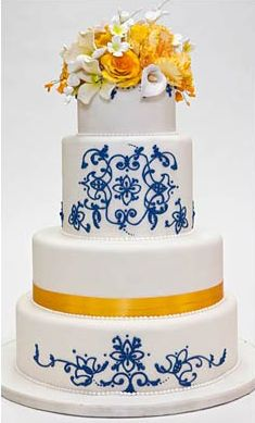 Fancy Cakes by Leslie, love the painted details and yellow flowers