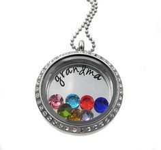 Grandma Necklace / Floating Locket / Charm Locket /  Personalized Hand Stamped Jewelry by Silver Impressions