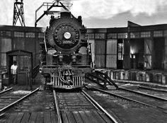 New York Central steam locomotive on turntable at Kankakee, Illinois