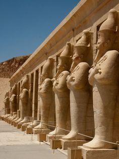 Hatshepsuts Temple - Osirian statues of Hatshepsut | photo by Sonya and Travis