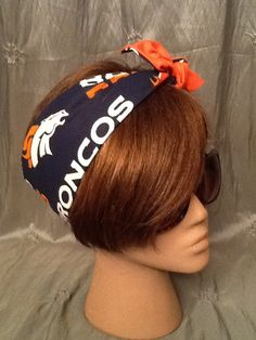 Go Broncos - Denver Broncos Rockabilly Hair Scarf Bandana Dolly Bow Tie Up Hand Made in the USA #broncos on Etsy, $12.00