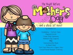 The Night Before Mothers Day and More Mothers Day Activities from KaSandra Elvir on TeachersNotebook.com -  (20 pages)  - Interactive Mini Book and more! See a completed mini book and traced hand bouquet at  http://memoriesmadeinfirst.blogspot.com/2014/04/the-night-before-mothers-day-and-more.html!
