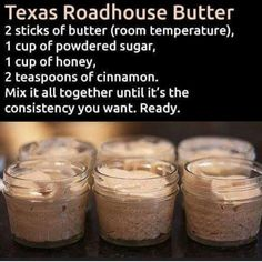 Make and share this Texas Roadhouse Butter recipe from Genius Kitchen. Make and share this Texas Roadhouse Butter recipe from Genius Kitchen. Texas Roadhouse Butter, Texas Roadhouse Recipes, Texas Roadhouse Rolls, Texas Roadhouse Steak Seasoning, Texas Roadhouse Cinnamon Honey Butter Recipe, Think Food, Love Food, Chutney, Flavored Butter