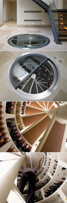 Circular wine cellar. I just want to see how you get a bottle from the bottom shelf.