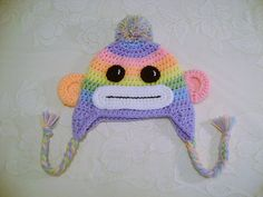 READY TO SHIP - 3 to 6 Month Size - Pastel Rainbow Colored Sock Monkey Crocheted Hat - Photo Prop via Etsy