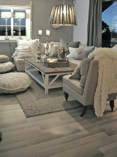 35 Amazing Neutral Living Room Designs: 35 Amazing Neutral Living Room Designs With White Grey Sofa Pillow And Wooden Table And Chandelier And Cushion And Rug And Wooden Floor