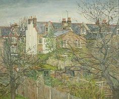 'Back Gardens, Wandsworth, London', oil paint on canvas by Robert Boyce Powter (n.d.). #PaintedLondon