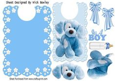 Cute little blue puppy with flowers and bows on a bib on Craftsuprint - Add To Basket!
