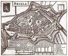 Den Briel, stadsplattegrond in 1633 door Guiccardini uitgegeven (Brielle)