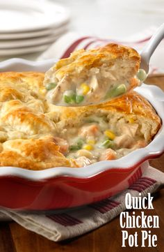 You can have a delicious pot pie on the table quickly and easily. A combination of cooked chicken, frozen veggies and creamy herb and garlic soup is topped with biscuit crust and baked to golden perfection. Give it a try, this is comfort food that's sure to become a family favorite!