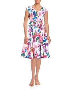 Context Floral Fit-and-Flare Dress Women's True White Multi Medium